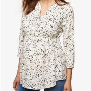 Motherhood Maternity Large White Black Blossom Top